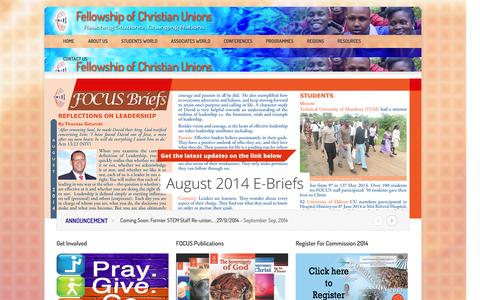 Screenshot of Home Page focuskenya.org - Fellowship of Christian Unions         A student-centric site - captured Oct. 5, 2014