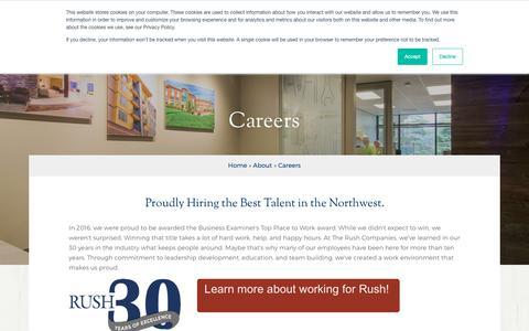 Screenshot of Jobs Page therushcompanies.com - Careers | The Rush Companies | Puget Sound Region Washington - captured Nov. 19, 2018