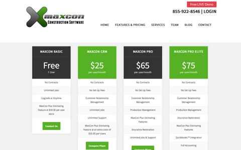 Screenshot of Pricing Page maxconsoftware.com - Construction Software - Quality Project Management Solutions by MaxCon - captured Sept. 30, 2014