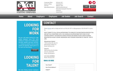 Screenshot of Contact Page Maps & Directions Page excelstaff.com - Excel Staffing - Contact - captured Feb. 1, 2016