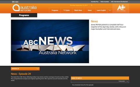 Screenshot of Press Page australianetwork.com - News | Program | Australia Network - captured Sept. 24, 2014