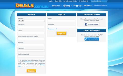 Screenshot of Login Page deals.com.au - Experiences - Sign Up | Sign In - captured Oct. 30, 2014
