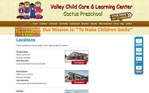 Screenshot of Locations Page valleylearningcenters.com - Phoenix childcare services Chandler Tempe Glendale preschool programs - captured Oct. 7, 2014