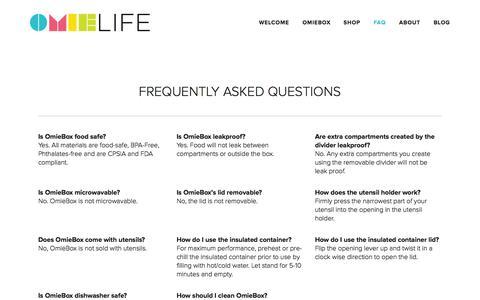 Screenshot of FAQ Page omielife.com - FAQ — OmieLife - captured Oct. 7, 2014