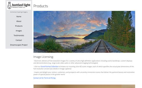 Screenshot of Products Page bottledlightproductions.com - Overview - bottledlightproductions.com - captured Oct. 6, 2018