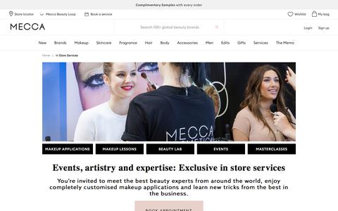 Screenshot of Services Page mecca.com.au - In Store Services | MECCA - captured July 13, 2019