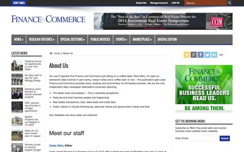 Screenshot of About Page finance-commerce.com - About Us | Finance & Commerce - captured Sept. 25, 2014