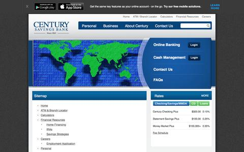 Screenshot of Site Map Page centurysb.com - Century Savings Bank - Sitemap - captured March 30, 2016