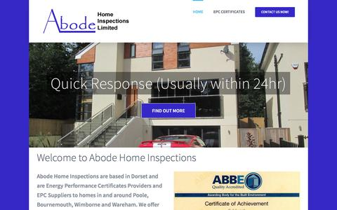 Screenshot of Home Page abodehomeinspectionsltd.co.uk - Adobe Home Inspections - EPC Certificates Dorset - captured May 28, 2017