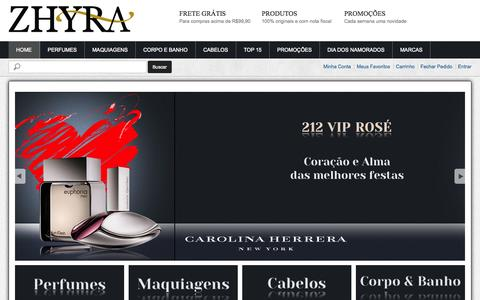 Screenshot of Home Page zhyra.com.br - Zhyra - captured Oct. 9, 2014