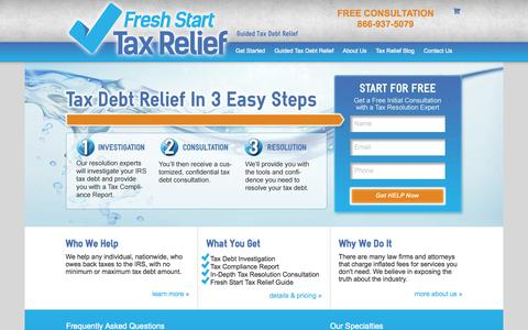 Screenshot of Home Page freshstarttaxrelief.com - Fresh Start Tax Relief Tax Debt Resolution Experts | Fresh Start Tax Relief - captured Oct. 6, 2014