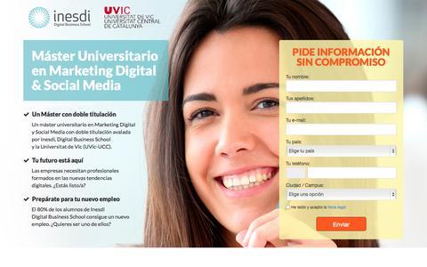Screenshot of Landing Page inesdi.com - INESDI Digital Business School | Máster en Marketing Digital & Social Media - captured Oct. 27, 2014