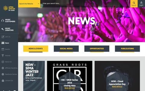 Screenshot of Press Page apraamcos.com.au - News   APRA AMCOS Australia - captured July 23, 2016