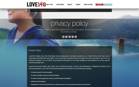 Screenshot of Privacy Page love146.org - LOVE146 | Privacy Policy - captured Sept. 24, 2014