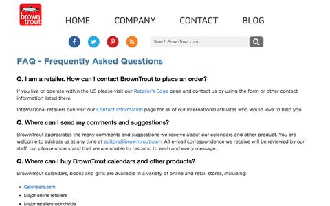 Screenshot of FAQ Page browntrout.com - FAQ - Frequently Asked Questions - captured Aug. 3, 2018