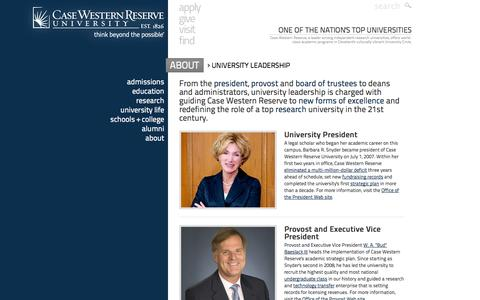 Screenshot of Team Page case.edu - Leadership at Case Western Reserve University - One of the nation's top universities and the best college in Ohio - captured Sept. 13, 2014