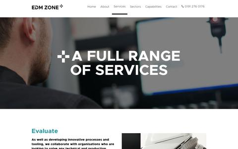 Screenshot of Services Page edmzone.co.uk - A Full Range of Services : Evaluate; Design + Manufacture | EDM Zone - captured July 9, 2017