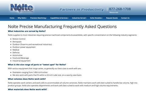 Screenshot of FAQ Page nolteprecise.com - Frequently Asked Questions | Nolte Precise Mfg. | Cincinnati, OH - captured Oct. 20, 2018