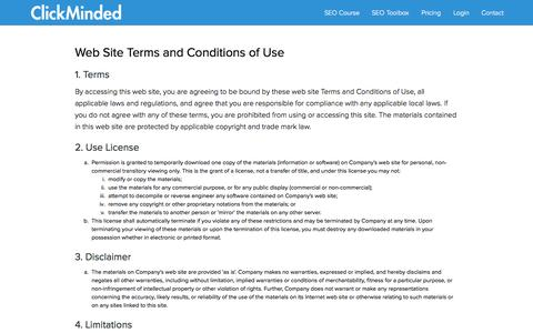 Screenshot of Terms Page clickminded.com - Terms of Use | ClickMinded - captured Nov. 18, 2015