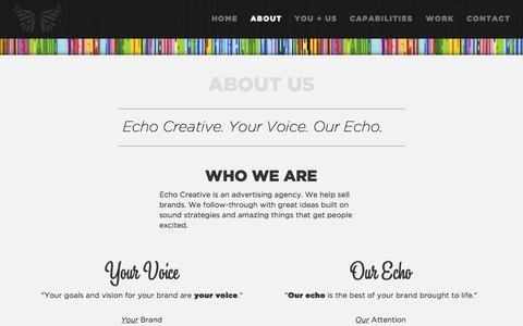 Screenshot of About Page echocreative.com - Echo Creative | Minneapolis, Minnesota Advertising Agency - captured Oct. 28, 2014