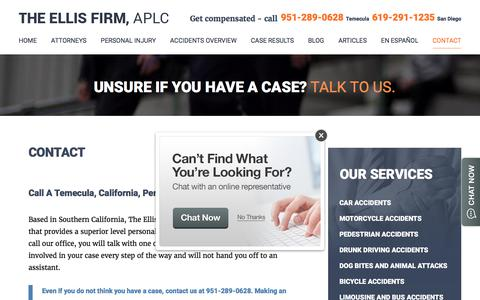 Screenshot of Contact Page injuryattorneysofcalifornia.com - Contact | The Ellis Firm, APLC | Personal Injury Lawyers in Temecula and Corona - captured Nov. 7, 2017