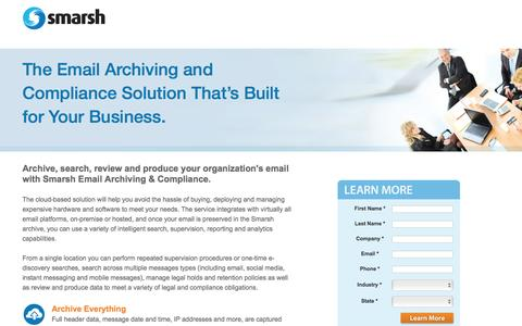 Screenshot of Landing Page smarsh.com - Enterprise Email Archiving and Compliance | Smarsh - captured Oct. 21, 2016