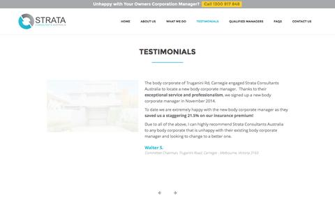 Screenshot of Testimonials Page strataconsultants.com.au - Testimonials • Strata Consultants - Body Corporate Melbourne - captured Feb. 16, 2016