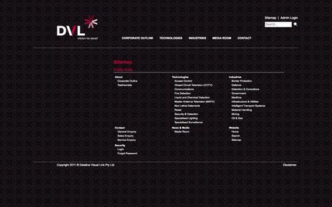 Screenshot of Site Map Page dvl.com.au captured Oct. 5, 2014