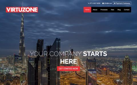 Screenshot of Home Page vz.ae - VIRTUZONE Business Setup Dubai - captured Nov. 17, 2015