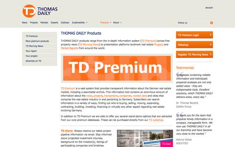 Screenshot of Products Page thomas-daily.de - Products › THOMAS DAILY GmbH - captured Feb. 29, 2016
