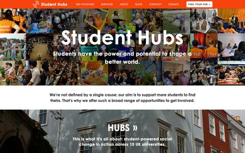 Screenshot of Home Page studenthubs.org - Student Hubs - captured Oct. 8, 2014