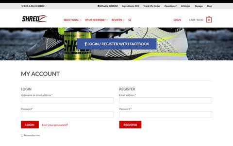 Screenshot of Login Page shredz.com - My Account | SHREDZ Supplements - captured Sept. 23, 2014