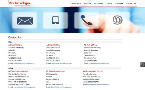 Screenshot of Contact Page ag-technologies.com - AG Technologies - captured May 28, 2017
