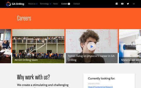 Screenshot of Jobs Page gadrilling.com - Career at innovative company   GA Drilling - captured July 14, 2018