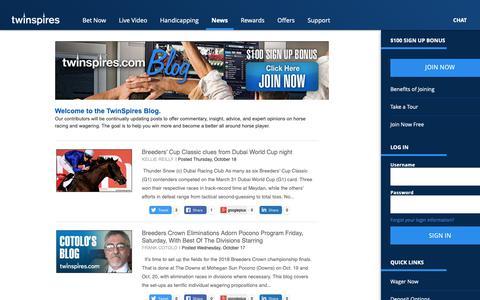 Screenshot of Blog Press Page twinspires.com - TwinSpires.com | | Bet Online With The Leader In Online Horse Racing - captured Oct. 18, 2018