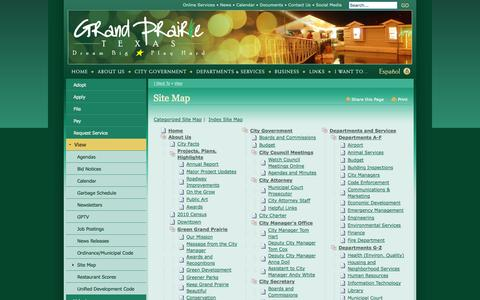 Screenshot of Site Map Page gptx.org - City of Grand Prairie : Site Map - captured Sept. 24, 2014