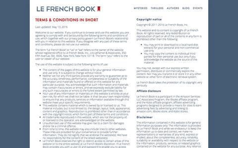 Screenshot of Terms Page lefrenchbook.com - Terms & Conditions — Le French Book - captured May 16, 2017