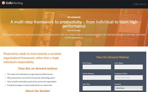 Screenshot of Landing Page gotomeeting.com - A multi-step framework to productivity – from individual to team high performance - captured Oct. 12, 2017