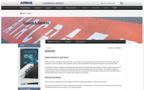 Screenshot of Services Page airbus.com - Services | Airbus, Commercial Aircraft - captured Feb. 3, 2017