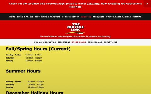 Screenshot of Hours Page thebicyclelink.com - Store Hours — The Bicycle Link - captured April 7, 2017