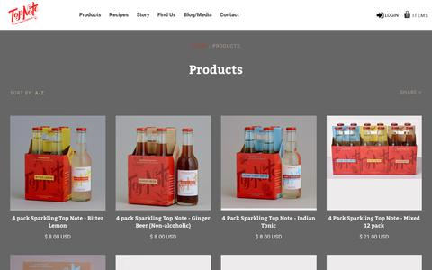 Screenshot of Products Page topnotetonic.com - Products                         – Top Note Tonic Store - captured Sept. 26, 2018