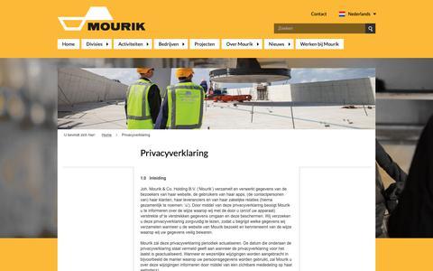 Screenshot of Privacy Page mourik.com - Privacyverklaring - captured Dec. 15, 2018