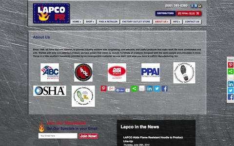 Screenshot of About Page lapco.com - About Us - LAPCO - captured Sept. 25, 2014