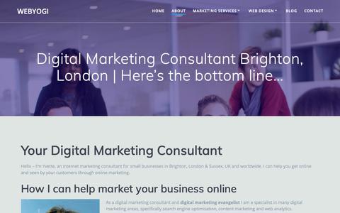 Screenshot of About Page webyogi.co.uk - Digital Marketing Consultant Brighton | Webyogi - captured April 4, 2019