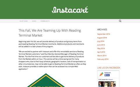 Screenshot of Blog instacart.com - Instacart News | Delivering groceries and delight in one hour! - captured Sept. 16, 2014