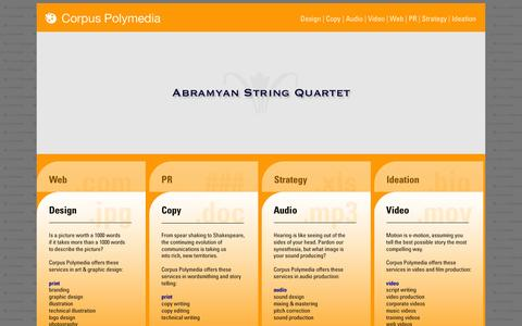 Screenshot of Home Page corpuspolymedia.com - Corpus Polymedia • A Communications Design Agency • Design   Copy   Audio   Video   Web   PR   Strategy   Ideation - captured Sept. 30, 2014