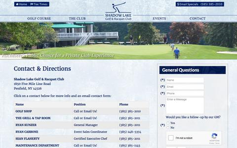 Screenshot of Contact Page Maps & Directions Page shadowlakegolf.com - Shadow Lake Golf & Racquet Club | Rochester Public Golf Course - Contact & Directions - captured April 8, 2017