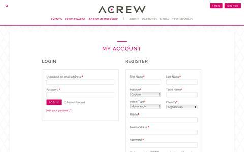 Screenshot of Login Page acrew.com - My Account - ACREW - captured Nov. 6, 2018