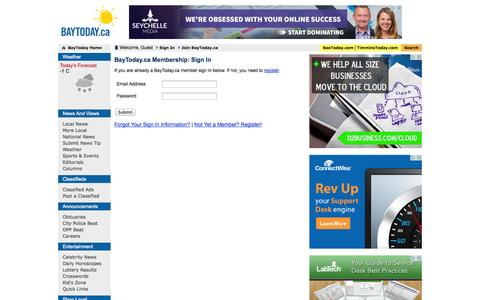Screenshot of Login Page baytoday.ca - BayToday.ca: North Bay's source for news, sports, editorials, and more! - captured Oct. 31, 2014