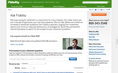 Financial and Retirement Questions and Answers - Ask Fidelity